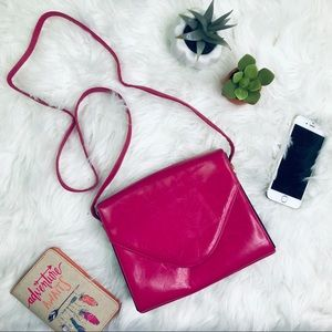 [Neiman Marcus] Hot Pink Leather Crossbody Purse